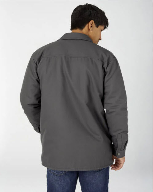 Dickies Men's Flannel Lined Duck Shirt Jacket with Hydroshield in Slate Grey at Dave's New York
