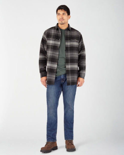 Dickies Heavyweight Long Sleeve Flannel Shirt in Smoke Plaid at Dave's New York