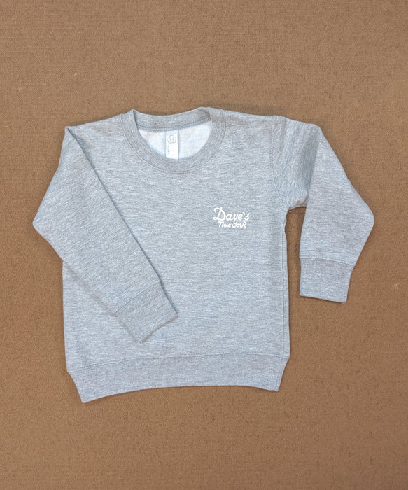 Dave's New York Kids Logo Crewneck Sweatshirt in Heather Grey