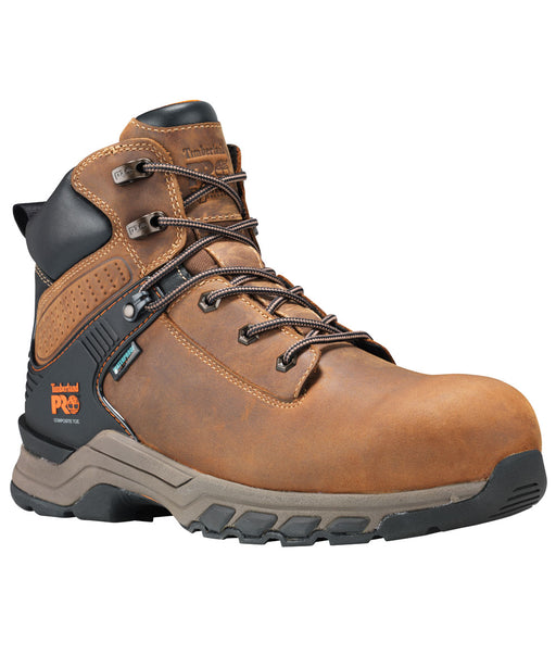 Timberland PRO Hypercharge Soft Toe Waterproof Work Boots - A1Q56 in Tan Full Grain at Dave's New York