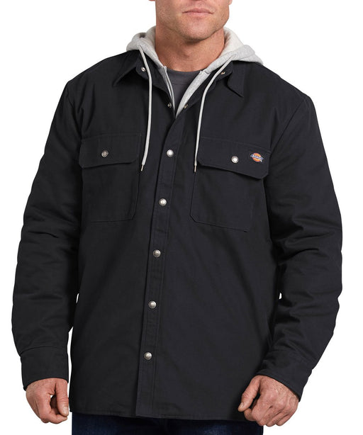 Dickies Icon Hooded Duck Quilted Shirt Jacket - Black