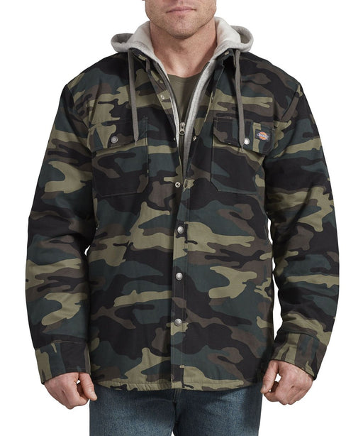 Dickies Icon Hooded Duck Quilted Shirt Jacket - Hunter Green Camo