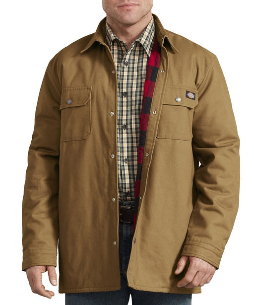 Dickies Plaid Lined Shirt Jacket in Brown Duck at Dave's New York