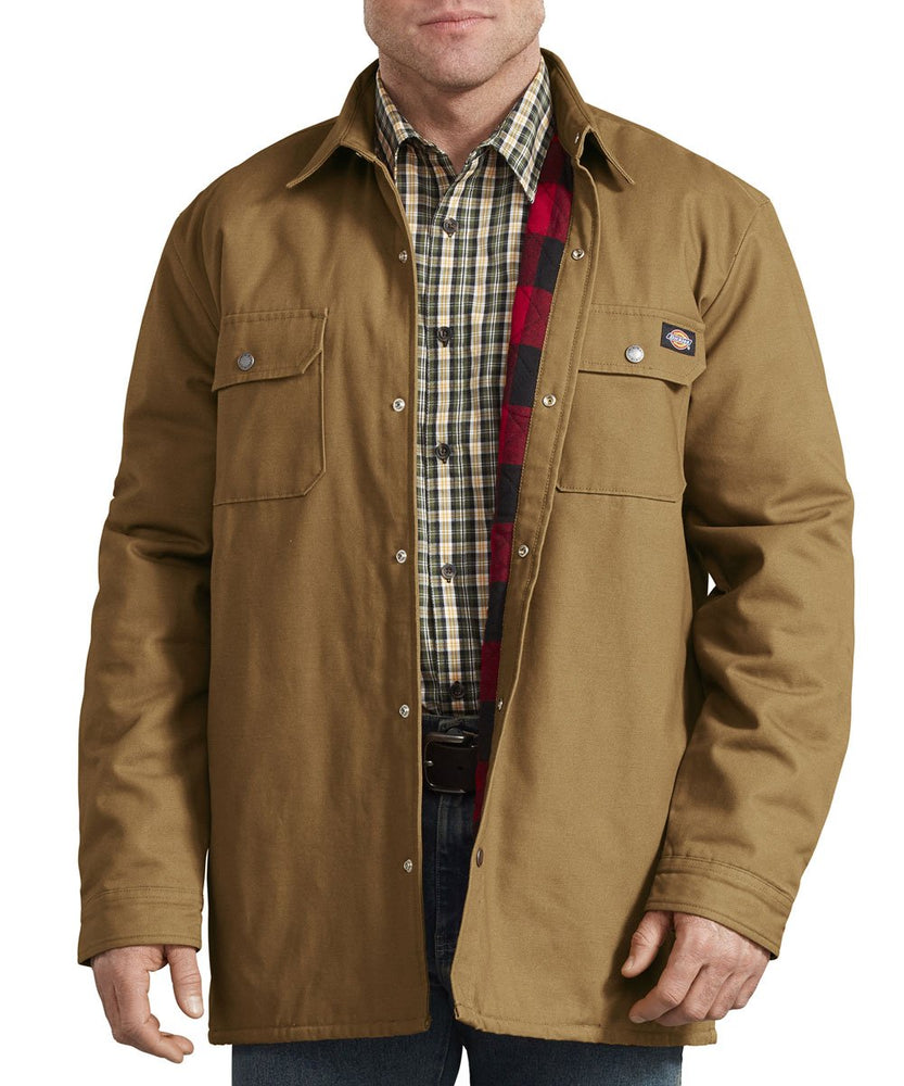 Dickies Plaid Lined Shirt Jacket - Brown Duck