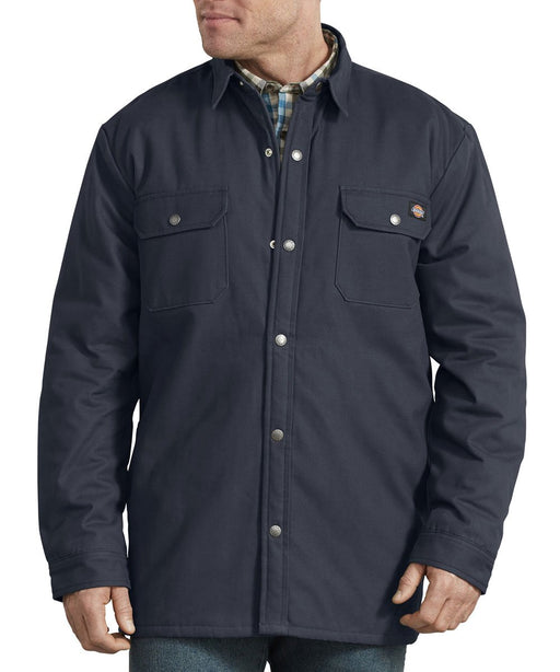 Dickies Plaid Lined Shirt Jacket in Dark Navy at Dave's New York