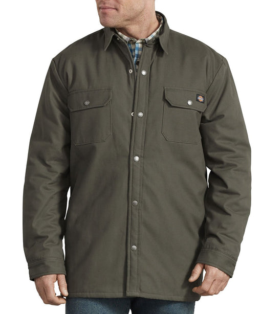 Dickies Plaid Lined Shirt Jacket in Moss at Dave's New York