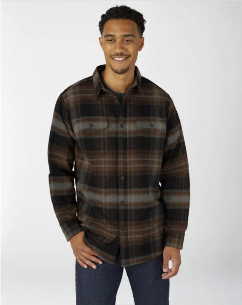 Dickies Heavyweight Long Sleeve Flannel Shirt in Timber Plaid at Dave's New York