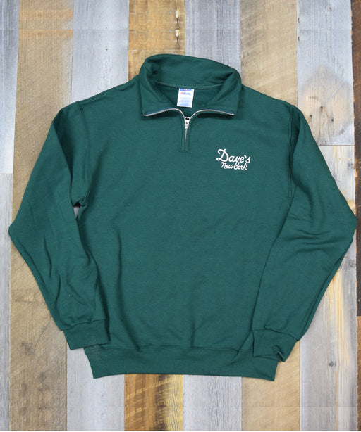 Dave's New York Vintage Logo Half-Zip Sweatshirt – Forest Green