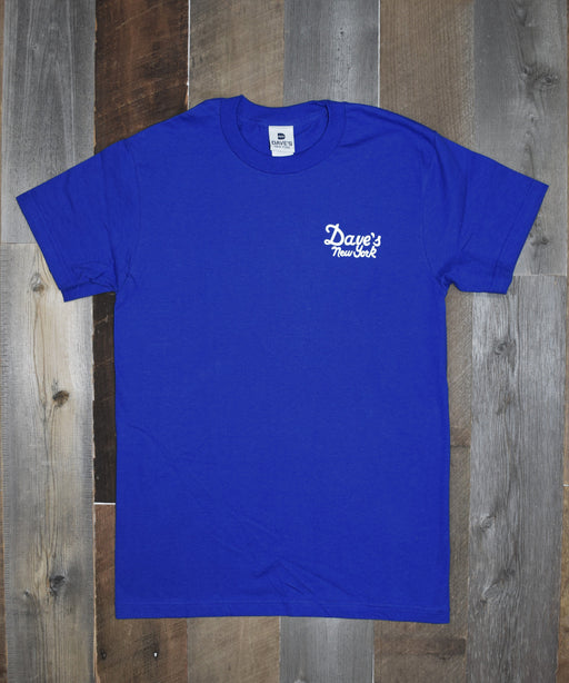 Dave's New York Vintage Logo Short Sleeve Tee Shirt - Royal Blue