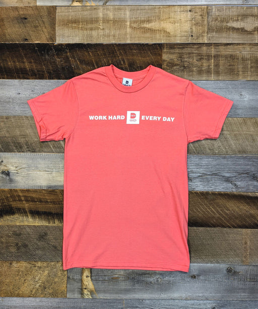 "Dave's New York ""Work Hard Every Day"" Tee - Coral"