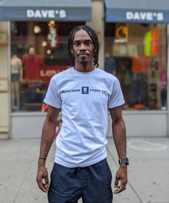 "Dave's New York ""Work Hard Every Day"" Tee - White"