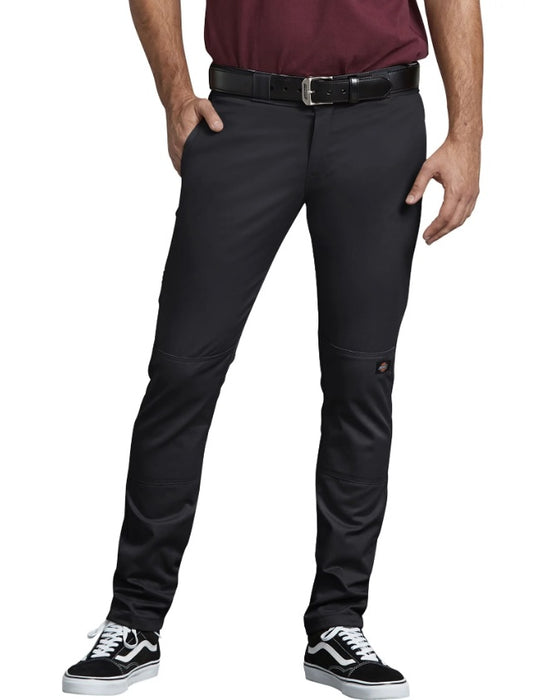 Dickies FLEX Skinny Straight Fit Double Knee Work Pants in Black at Dave's New York