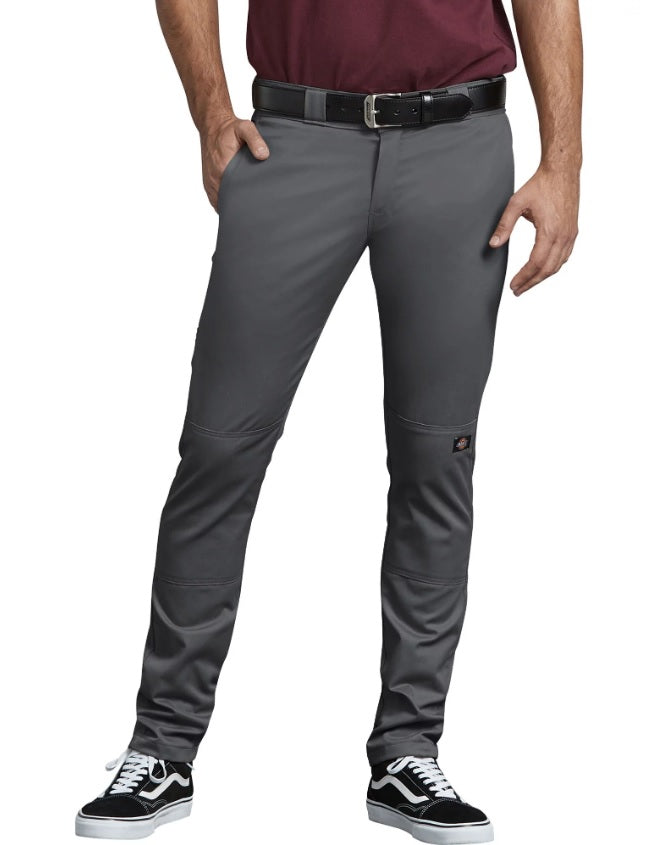 Dickies FLEX Skinny Straight Fit Double Knee Work Pants in Charcoal Grey at Dave's New York