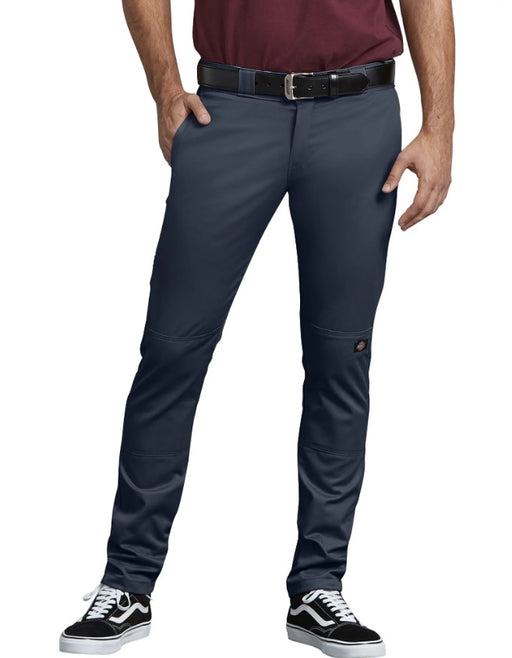 Dickies FLEX Skinny Straight Fit Double Knee Work Pants in Dark Navy at Dave's New York