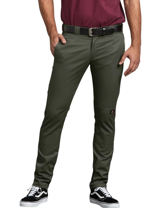 Dickies FLEX Skinny Straight Fit Double Knee Work Pants - Olive Green