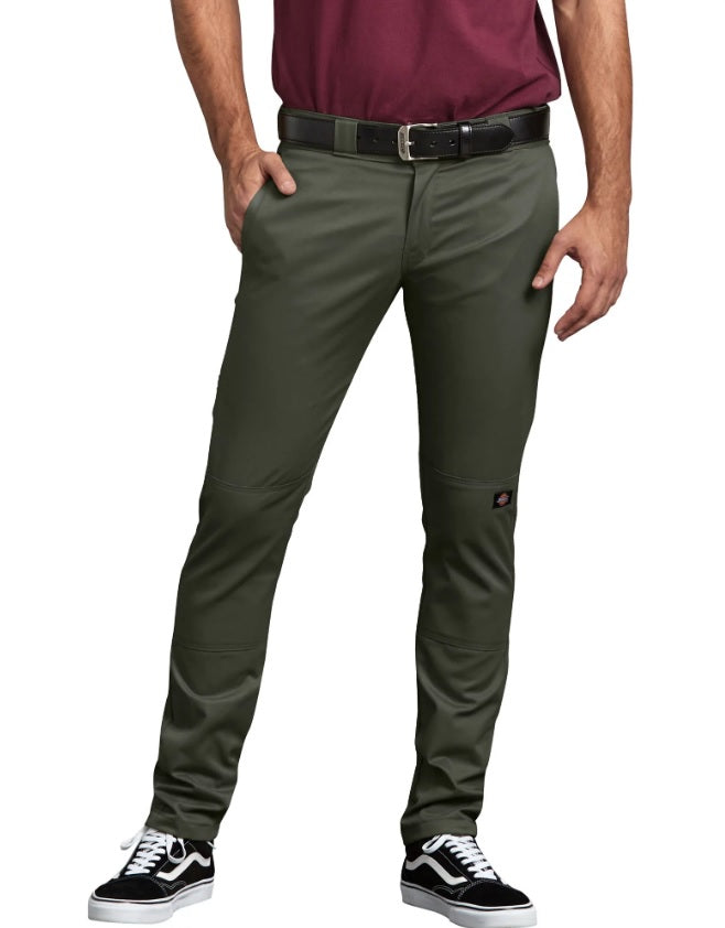 Dickies FLEX Skinny Straight Fit Double Knee Work Pants in Olive Green at Dave's New York