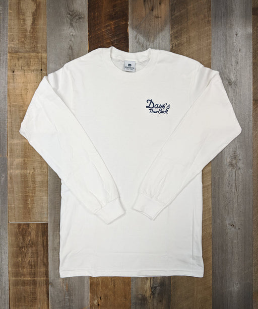 Dave's New York Long Sleeve Vintage Logo T-shirt - White