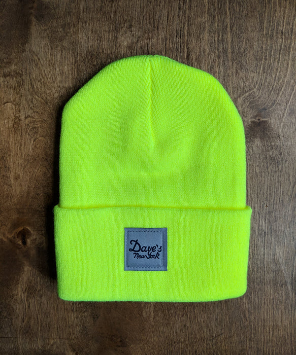 Dave's New York Vintage Logo Beanie - Bright Lime