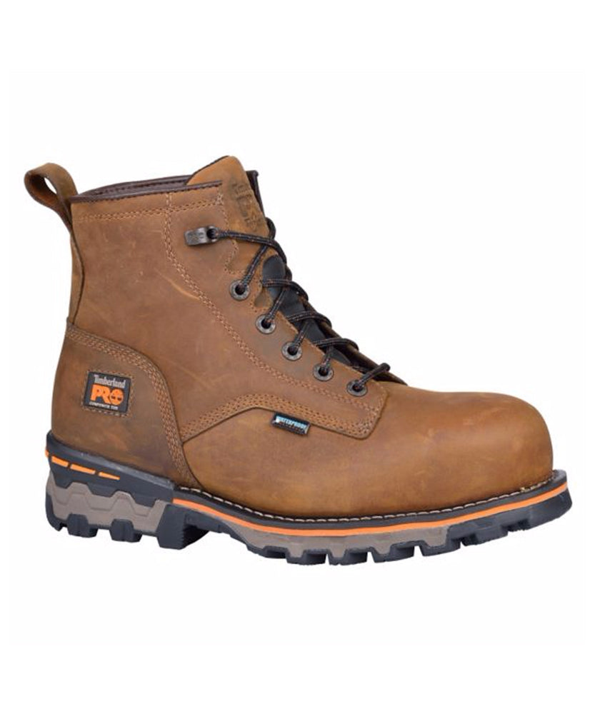 Timberland Pro Men's 6-Inch Boondock Waterproof Composite Toe Work Boots in Brown at Dave's New York