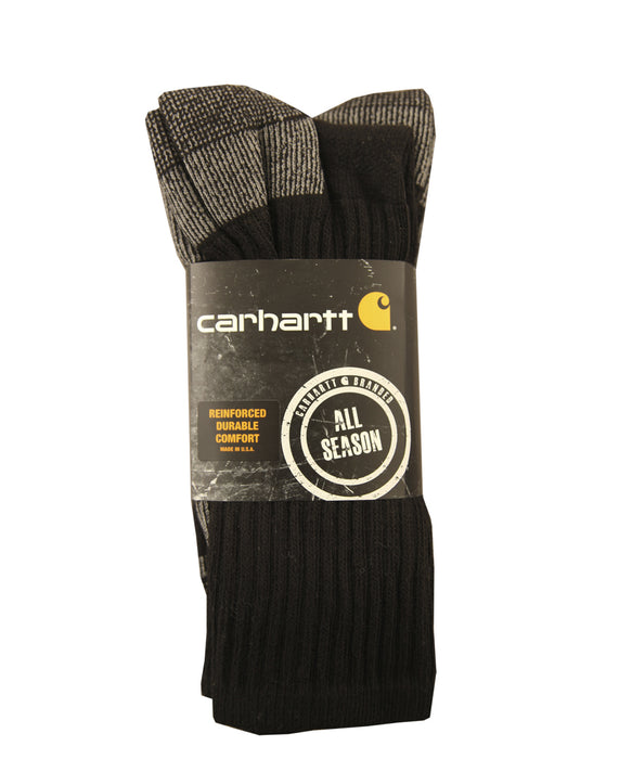 Carhartt All-Season Cotton Crew Socks (3 Pack) in Black at Dave's New York