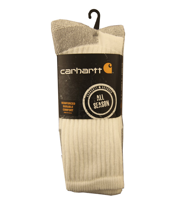 Carhartt All-Season Cotton Crew Socks (3 pack) in White at Dave's New York