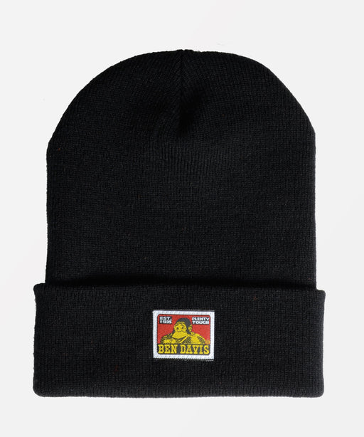 Ben Davis Logo Knit Beanie in Black at Dave's New York