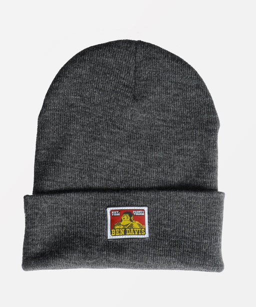 Ben Davis Logo Knit Beanie in Charcoal at Dave's New York