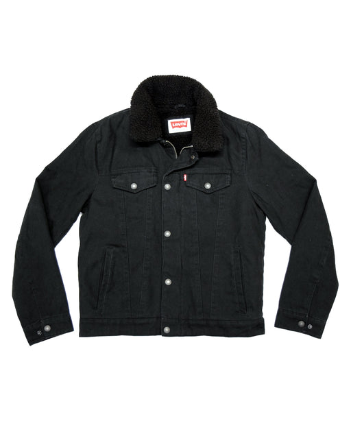 Levi's Men's Canvas Sherpa Trucker Jacket - Black Canvas