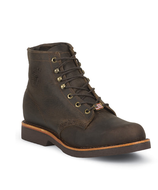 Chippewa 6-inch Apache Lacer Work Boots in Chocolate at Dave's New York