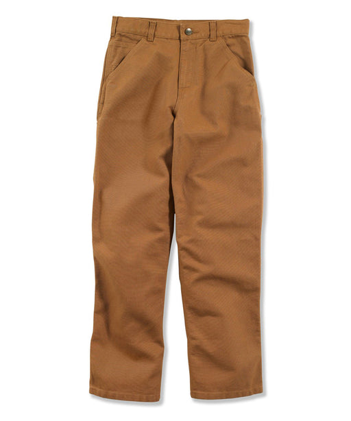 Carhartt Boys Washed Canvas Duck Dungaree Pants in Carhartt Brown at Dave's New York