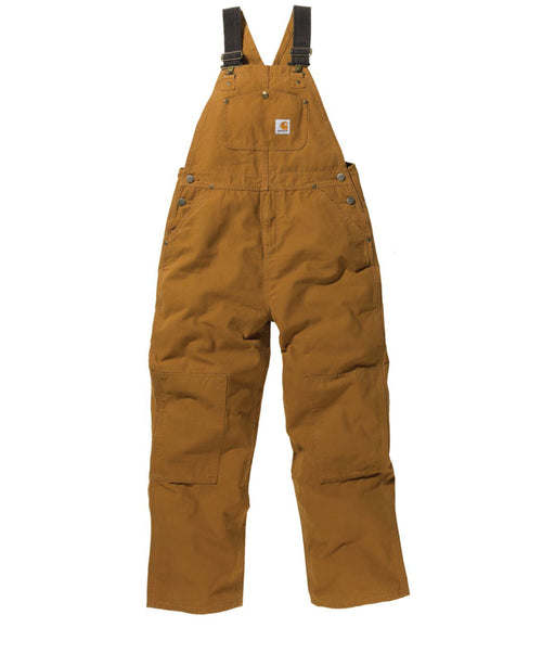 Carhartt Boys Washed Canvas Duck Bib Overalls (8-16) - model CM8601 - Carhartt Brown