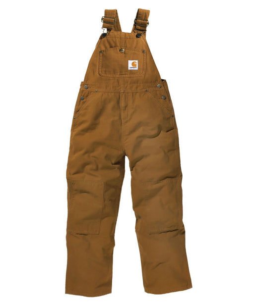 Carhartt Boys Washed Canvas Duck Bib Overalls (4-7) - model CM8603 - Carhartt Brown