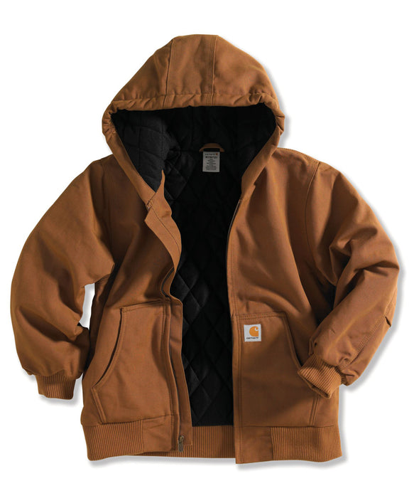 Carhartt Kids Flannel Quilt Lined Active Jac in Carhartt Brown at Dave's New York