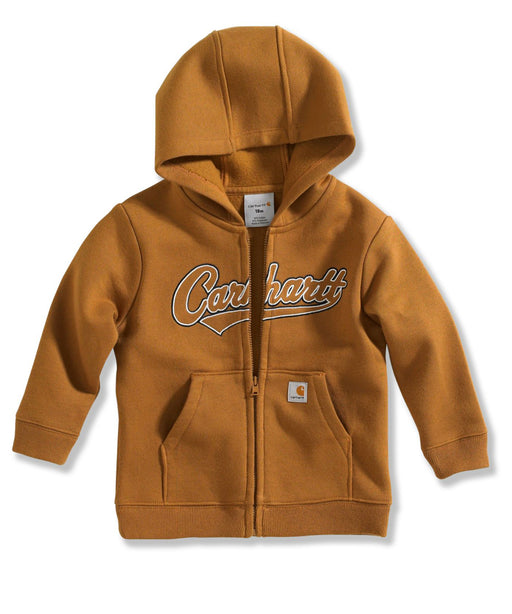 Carhartt Toddler Logo Zip-Front Hooded Sweatshirt (2T-4T) - model CP8447 - Carhartt Brown