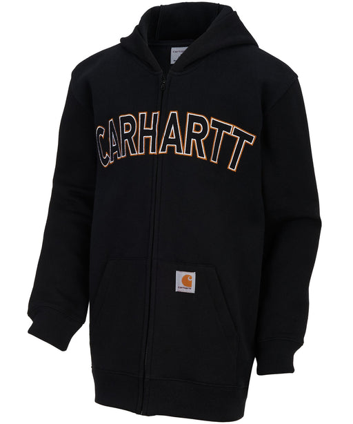 Carhartt Boys Logo Fleece Zip Sweatshirt (sizes 4- YXL) – model CP8509 – Caviar Black
