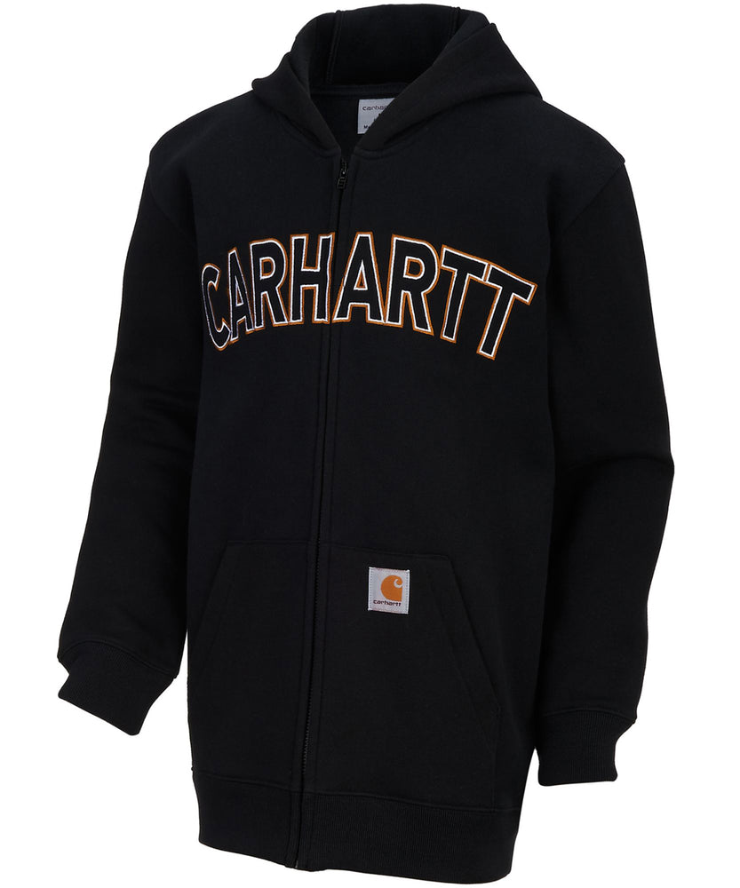 Carhartt Boys Logo Zip Sweatshirt in Caviar Black in Dave's New York