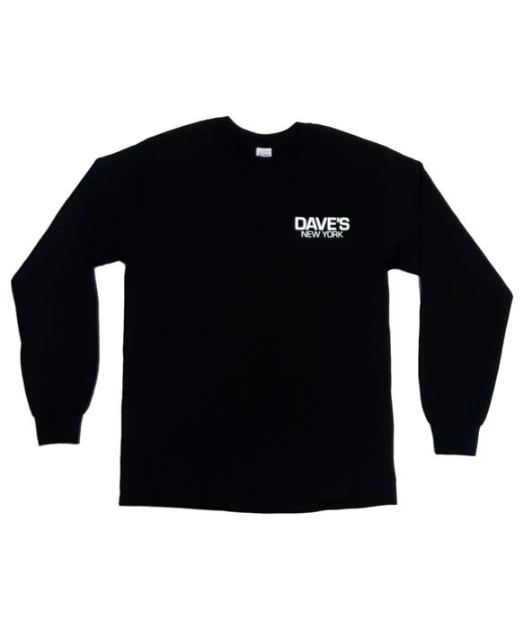 Dave's New York Long Sleeve Work Logo T-Shirt -  Black