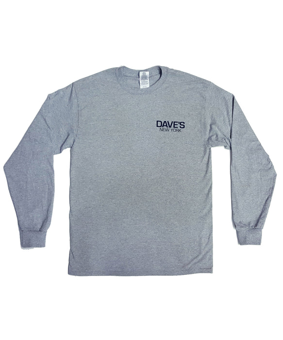 Dave's New York Work Logo Long Sleeve T-Shirt - Heather Grey
