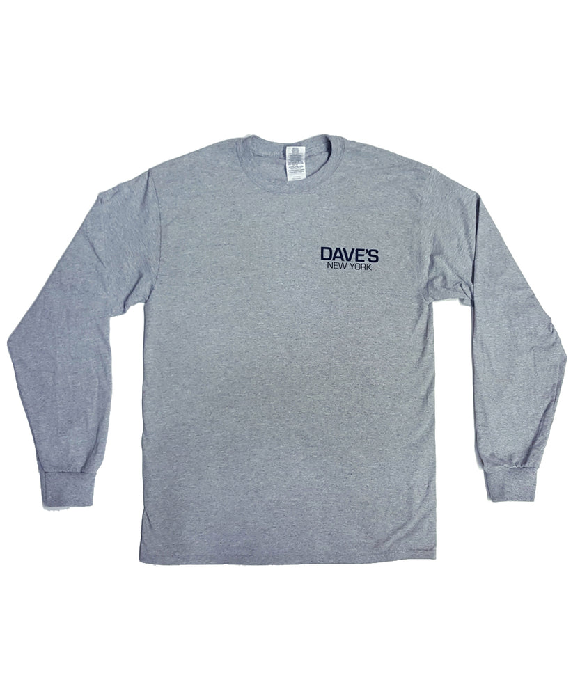 Dave's New York Long Sleeve Work Logo T-Shirt – Heather Grey