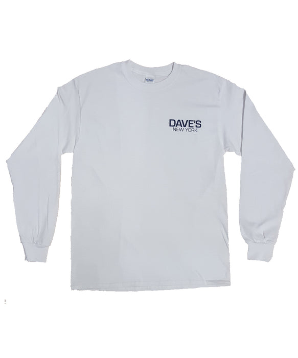 Dave's New York Long Sleeve Work Logo T-Shirt – White
