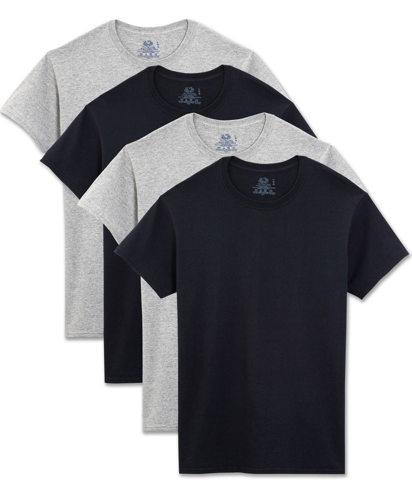 Men's 4 Pack Black and Grey Crew Neck Tee Shirts