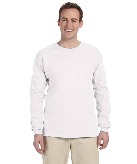 Gildan G240 Long Sleeve Ultra Cotton T-Shirt in White at Dave's New York