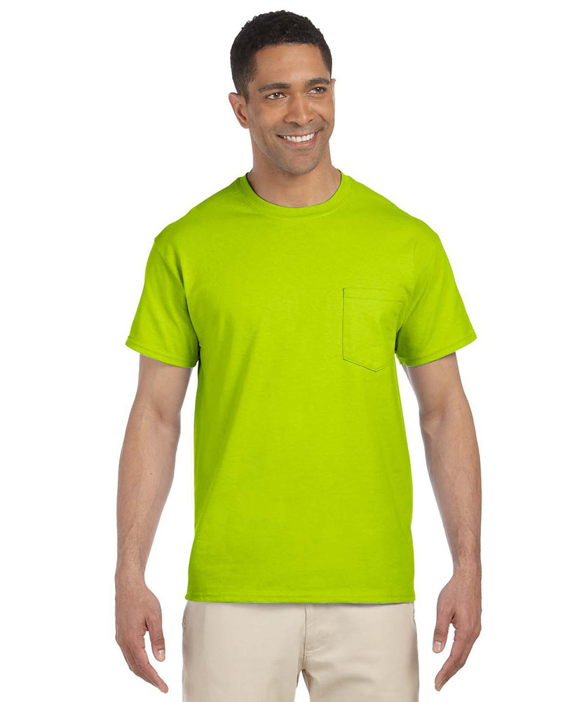 Gildan G230 Short Sleeve Ultra Cotton Pocket T-shirt in Safety Green Hi-Vis at Dave's New York