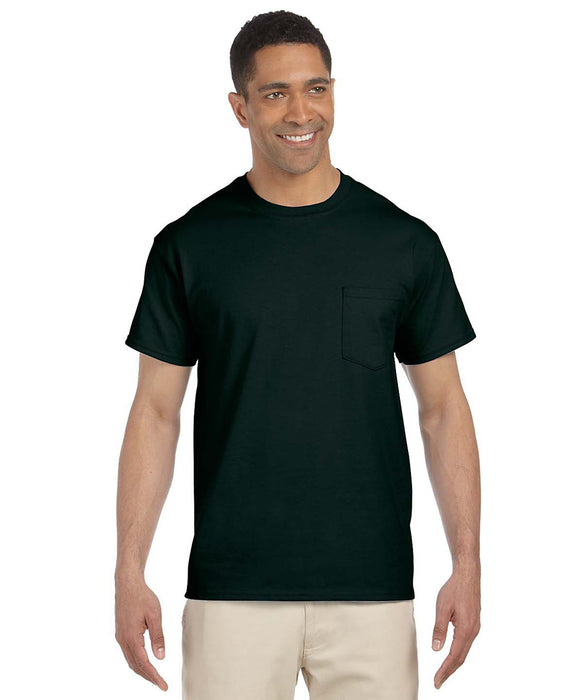 Gildan G230 Short Sleeve Ultra Cotton Pocket T-shirt in Forest Green at Dave's New York