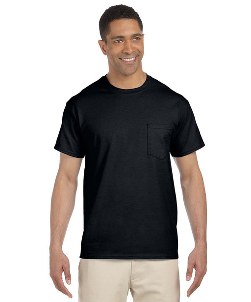 Gildan G230 Short Sleeve Ultra Cotton Pocket T-shirt in Black at Dave's New York
