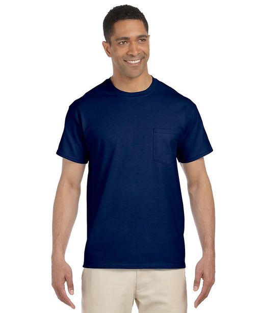 Gildan G230 Short Sleeve Ultra Cotton Pocket T-shirt in Navy at Dave's New York