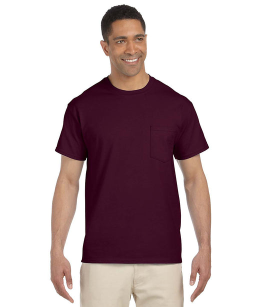 Gildan G230 Short Sleeve Ultra Cotton Pocket T-shirt in Maroon at Dave's New York