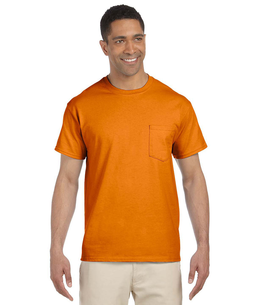 Gildan G230 Short Sleeve Ultra Cotton Pocket T-shirt in Safety Orange Hi-Vis at Dave's New York