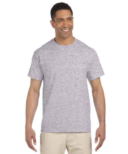 Gildan Short Sleeve Ultra Cotton Pocket T-Shirt – Heather Grey