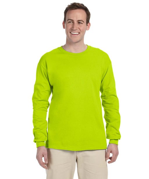 Gildan G240 Long Sleeve Ultra Cotton T-Shirt in Safety Yellow Hi-Vis at Dave's New York